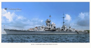 Prinz Eugen moored; I think this might be from around 1941, judging by her red turret tops